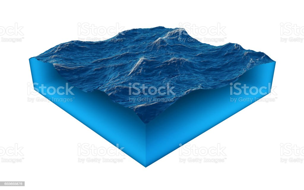 Cross section of clean ocean water stock photo