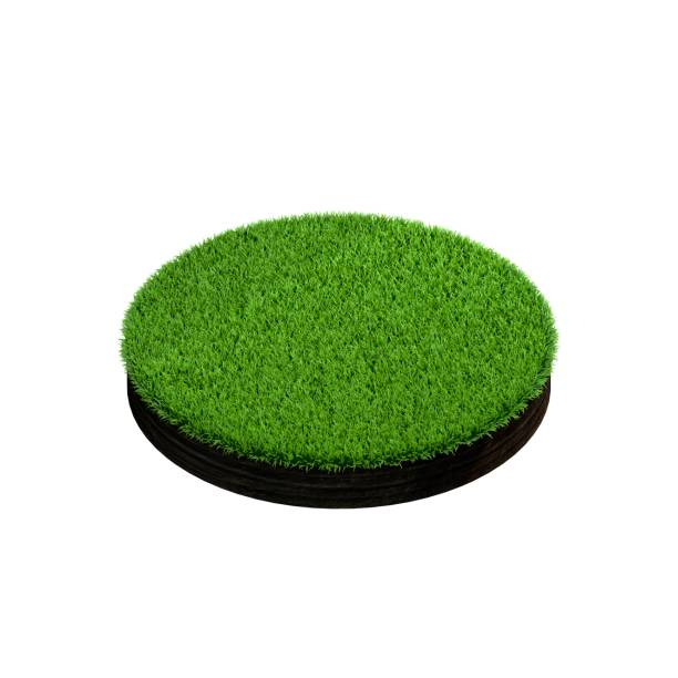 Cross section of ground with grass. Isolated on white background. stock photo