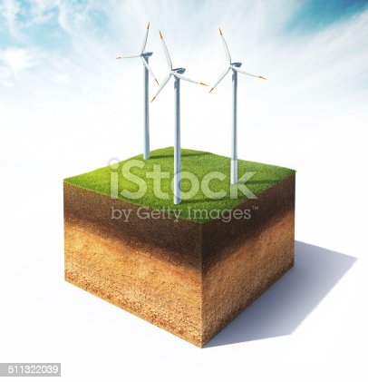istock cross section of ground with wind turbine 511322039