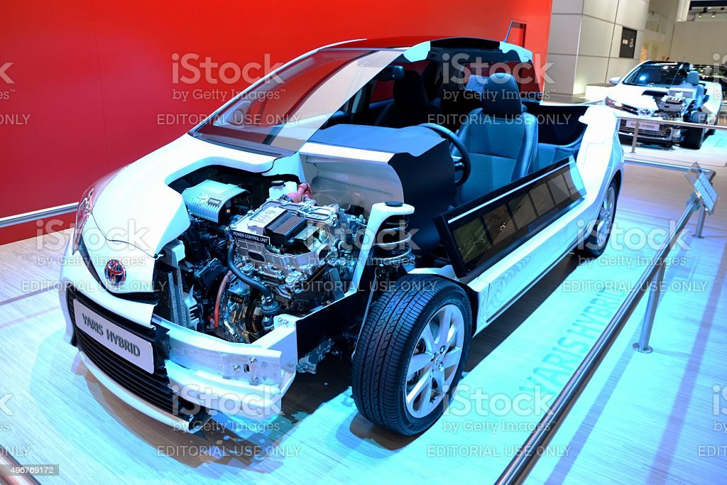 Cross section of modern hybrid vehicle stock photo
