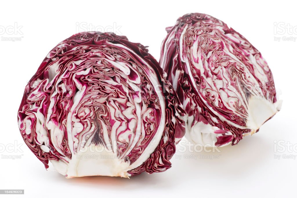 Cross Section of Radicchio Isolated on White stock photo