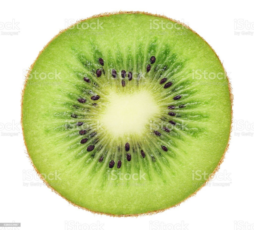 Cross section of ripe kiwi (isolated) stock photo