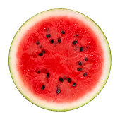 Cross Section of a watermelon on white background. Clipping path included.Related watermelon pictures: