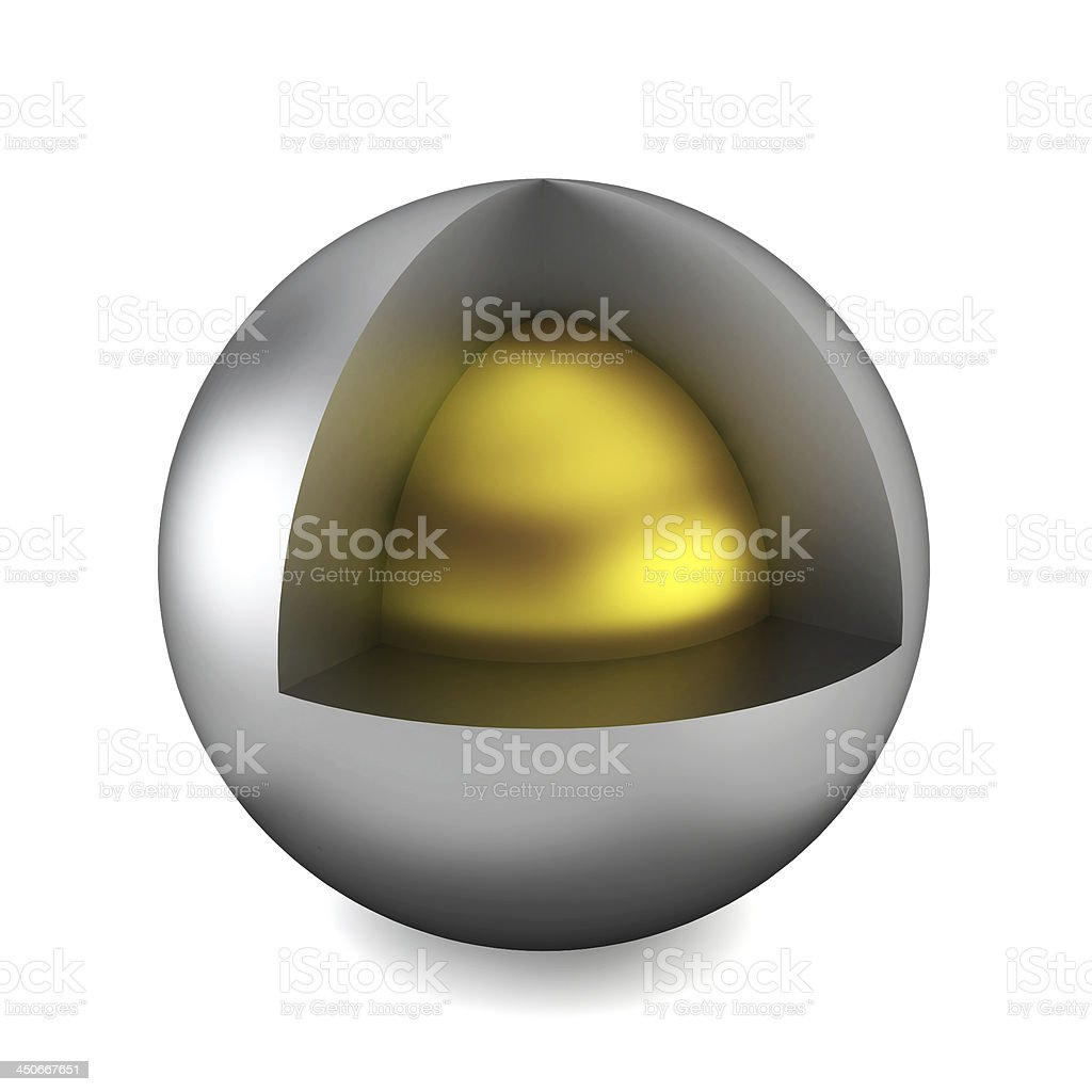Cross section of sphere stock photo