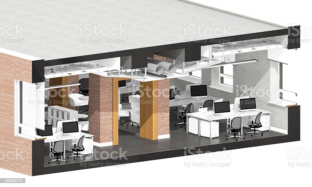 Cross section of the office space stock photo