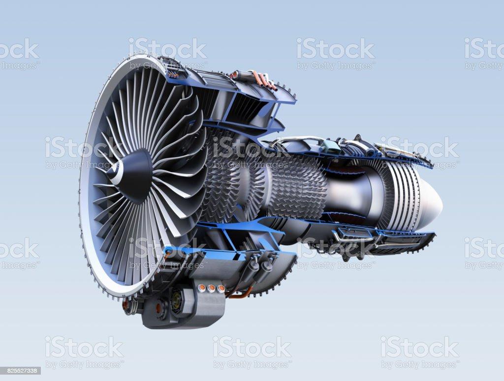 Cross section of turbofan jet engine isolated on light blue background stock photo