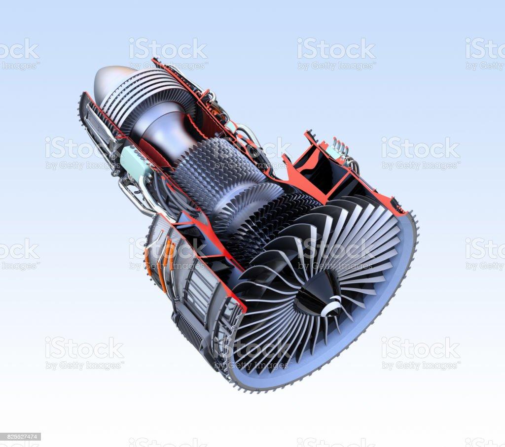 Cross Section Of Turbofan Jet Engine Isolated On Light Blue