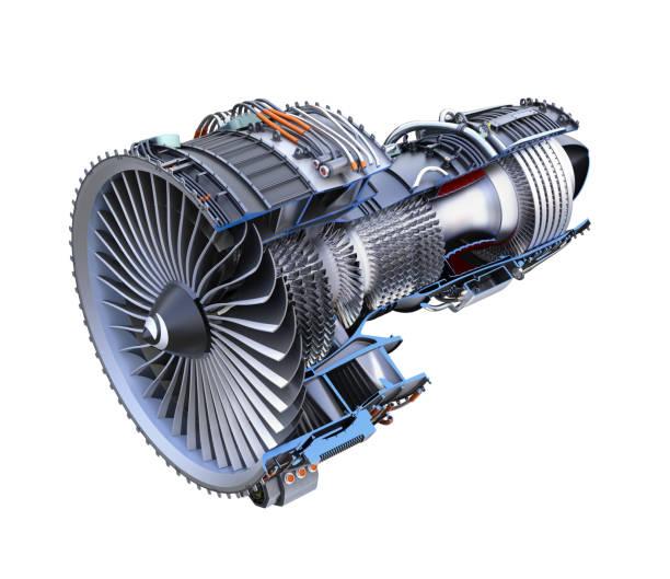 sección transversal de turboventilador jet motor aislado sobre fondo blanco - compresor motor fotografías e imágenes de stock