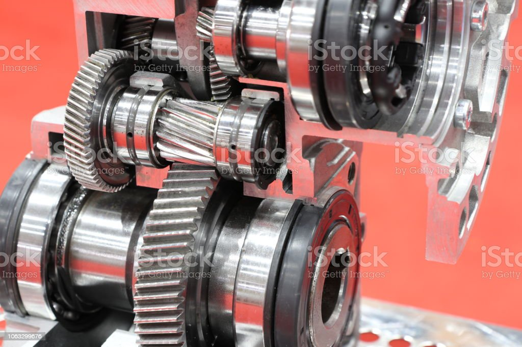 cross section of worm gear pump stock photo