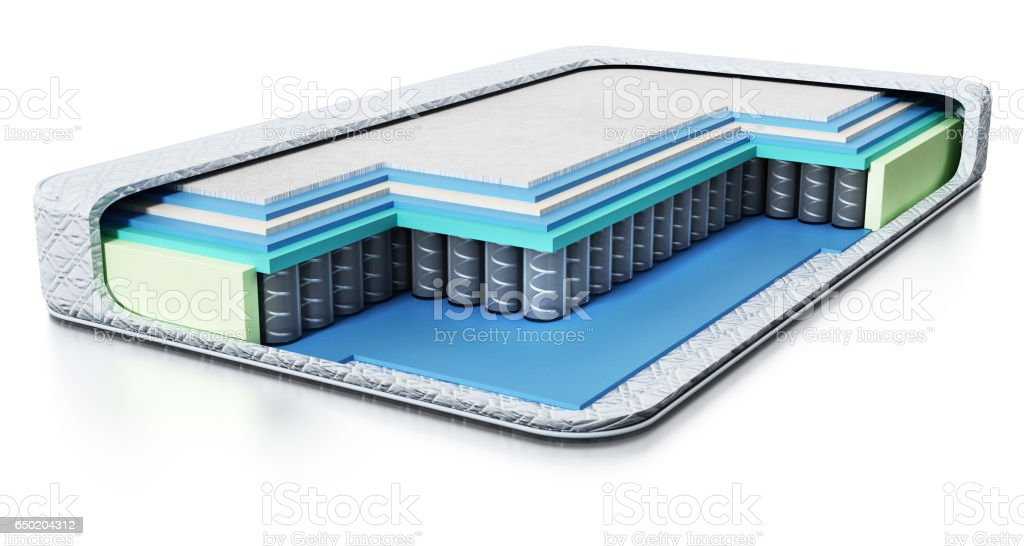 Cross section view of a modern bed stock photo