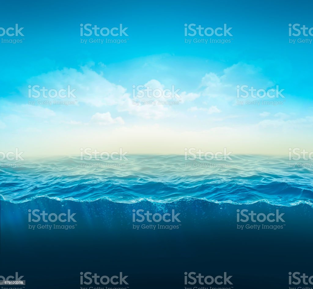 cross section water, ocean slice, water column. 3d illustration royalty-free stock photo