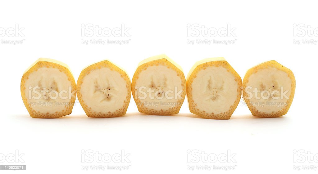 Cross Sections of banana isolated on white stock photo