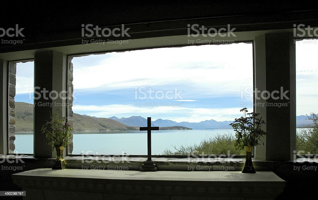 Cross Silhouette and Lake stock photo