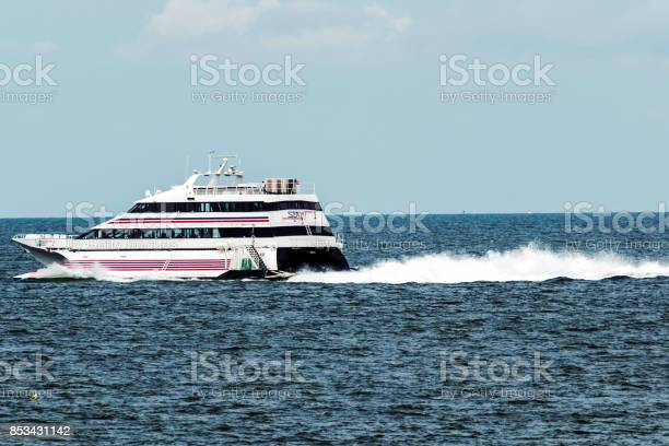 """New London, Connecticut, USA """"u2013 27 July 2017: The SEA JET is a high-speed passenger-only service, crossing between New London, CT and Orient Point, NY in just 40 minutes. Making it easy to get to the casino's."""