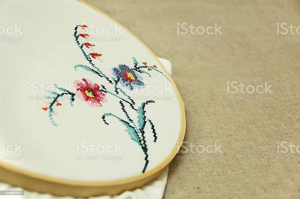 Cross stitch embroidery royalty-free stock photo