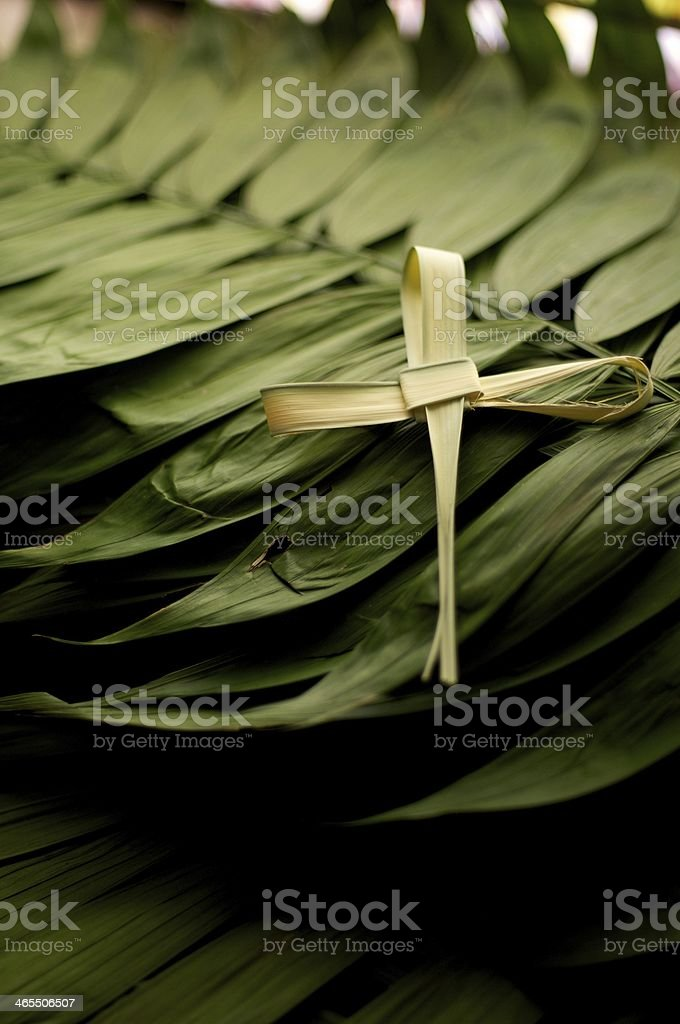 Cross symbol on top of a pile of green palm leaves for Lent stock photo