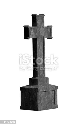 Cross tombstone isolated on white background