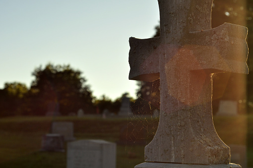 Cross Tombstone with Spiderweb Highlighted by Sun