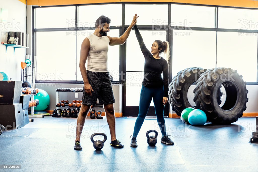 Cross Trainer Instruction in Gym stock photo