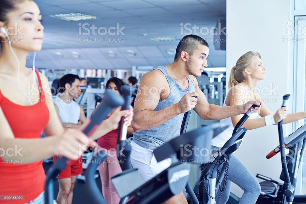 Cross trainer workout stock photo