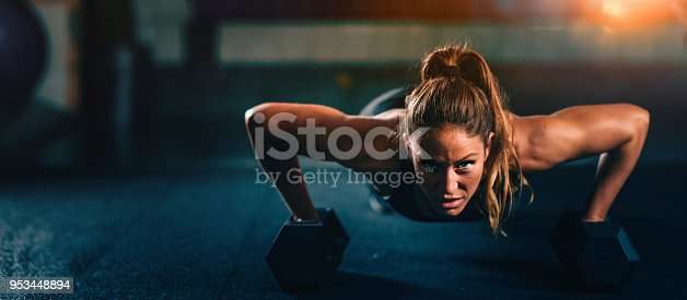 Cross training fitness. Young woman doing pushups with dumbbells. Panoramic image, convenient copy space