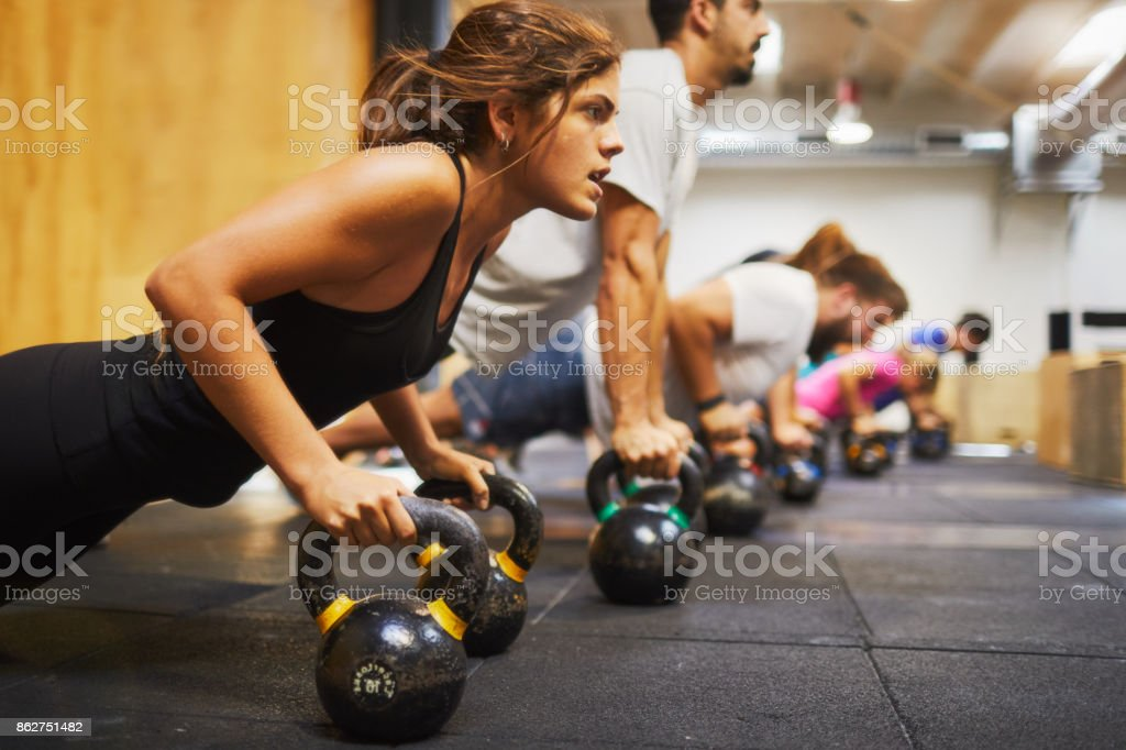 Cross training gym, exercising and focus concepts. stock photo