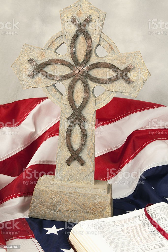 Cross with Bible royalty-free stock photo