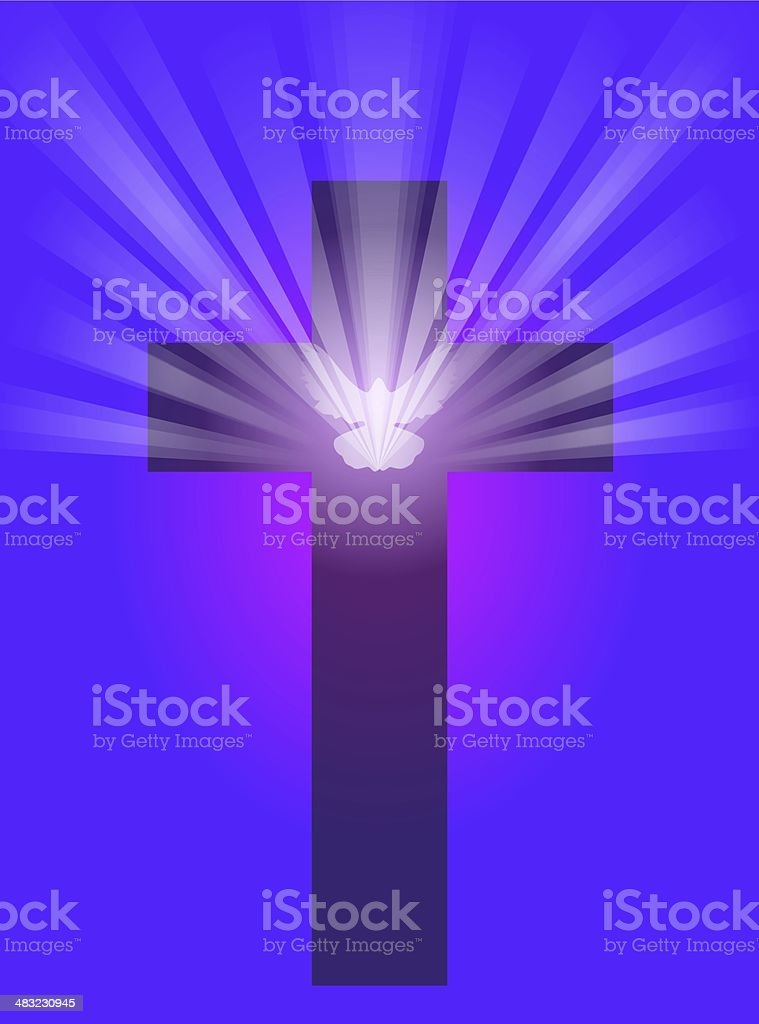 Cross with Dove and Light royalty-free stock photo