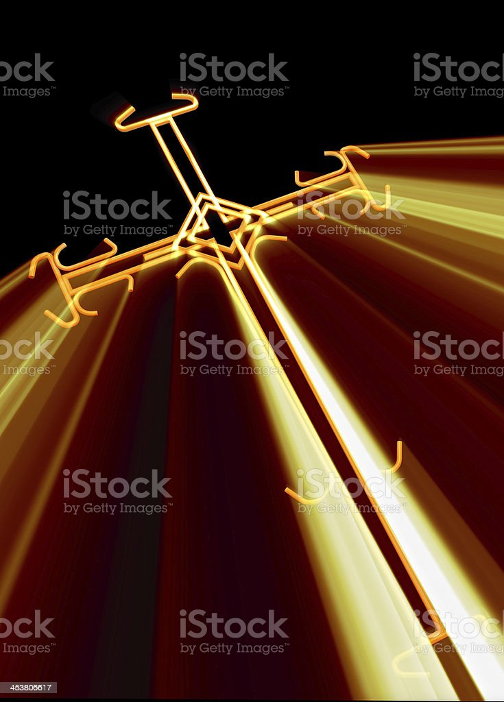 Cross with red  rays 1 royalty-free stock photo