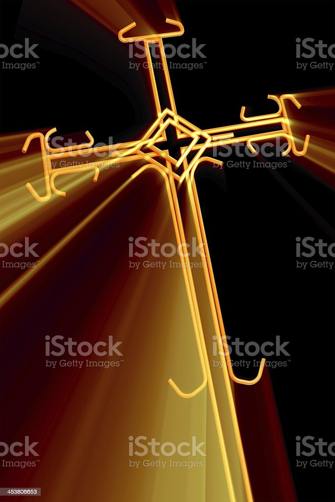 Cross with red  rays royalty-free stock photo