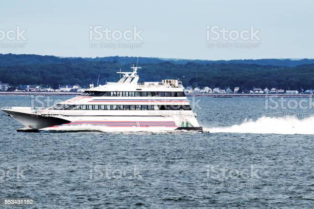 """New London, Connecticut, USA """"u2013 27 July 2017: The SEA JET is a high-speed passenger-only service, crossing between New London, CT and Orient Point, NY in just 40 minutes. Making it easy to get ot the casino's."""