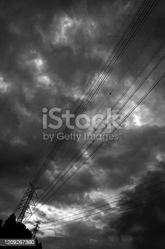 Crossarm and insulator strings of a high-voltage electricity tower