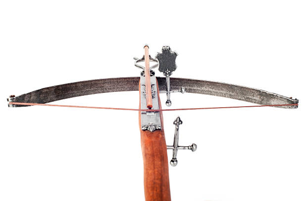 crossbow  aiming at a target - crossbow stock pictures, royalty-free photos & images
