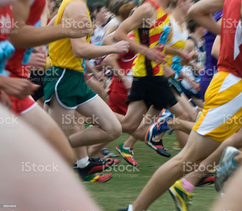 Cross-Country marathon depicting various contestants stock photo
