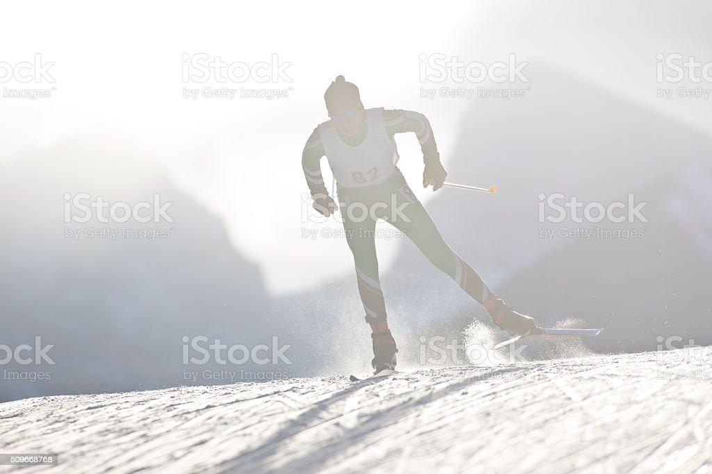 Cross-Country Ski Racer stock photo