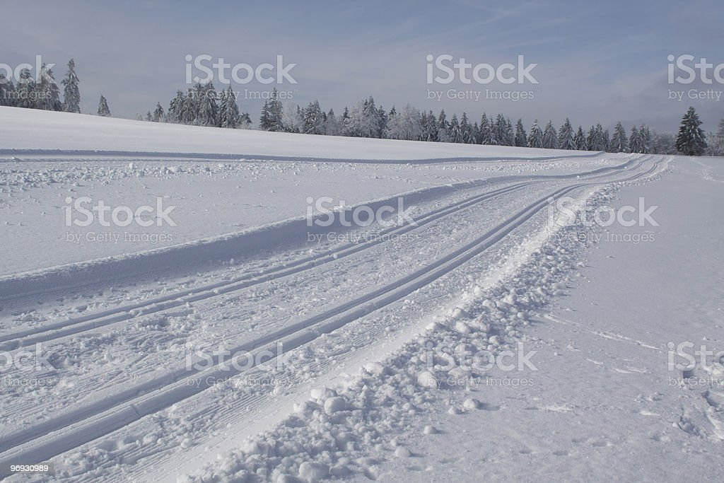 cross-country ski run royalty-free stock photo