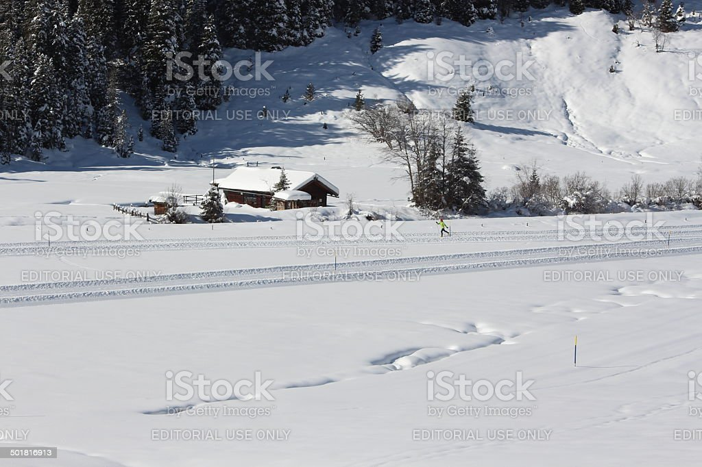 Cross-country ski run, White Winter Scenery, Tyrol, Austria stock photo