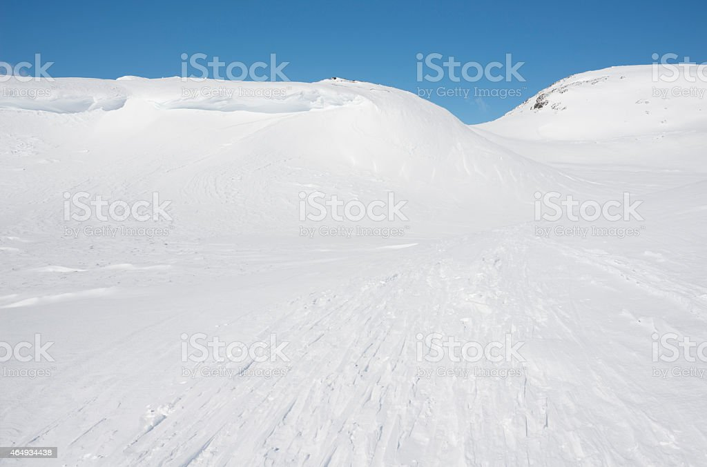 Cross-country ski track in the mountains of Jotunheimen royalty-free stock photo