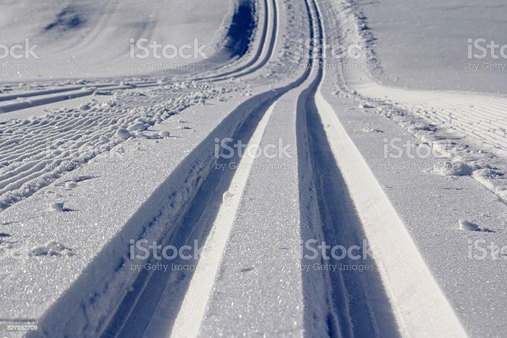 cross-country ski trail stock photo