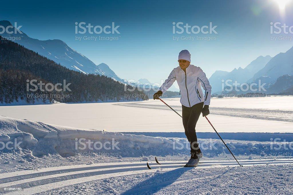 Cross-country skiing alternate stock photo