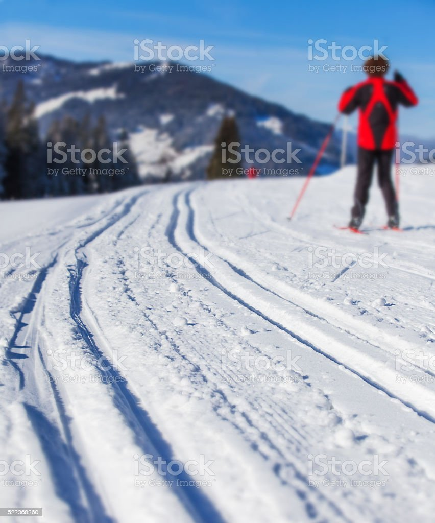 Cross-country skiing in Alps stock photo
