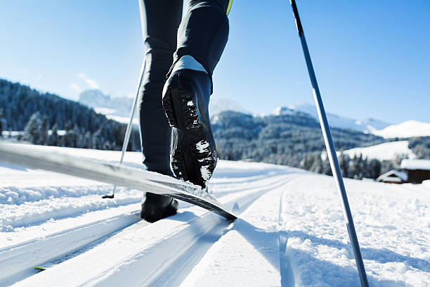 cross-country skiing in european alps - winter austria train bildbanksfoton och bilder