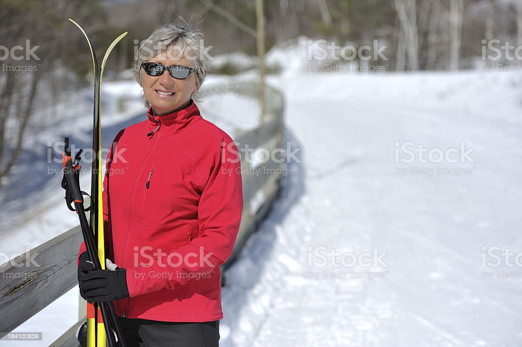 Cross-country skiing, portrait of a woman. royalty-free stock photo