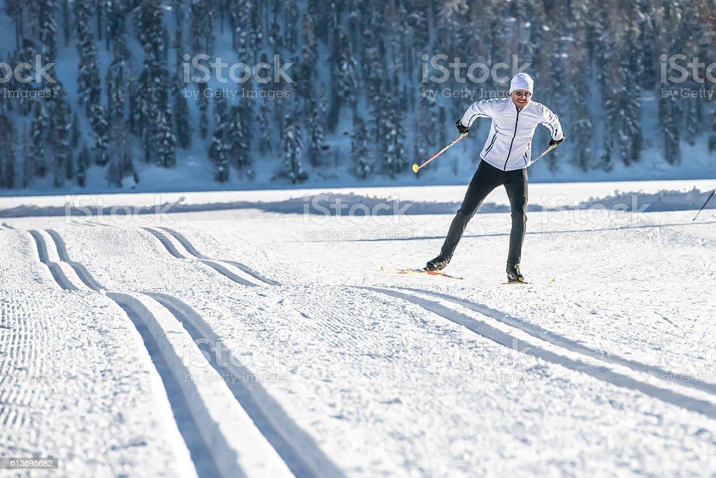 Cross-country skiing Skating stock photo