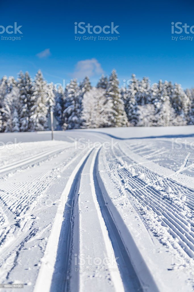 Cross-country skiing track in winter landscape stock photo