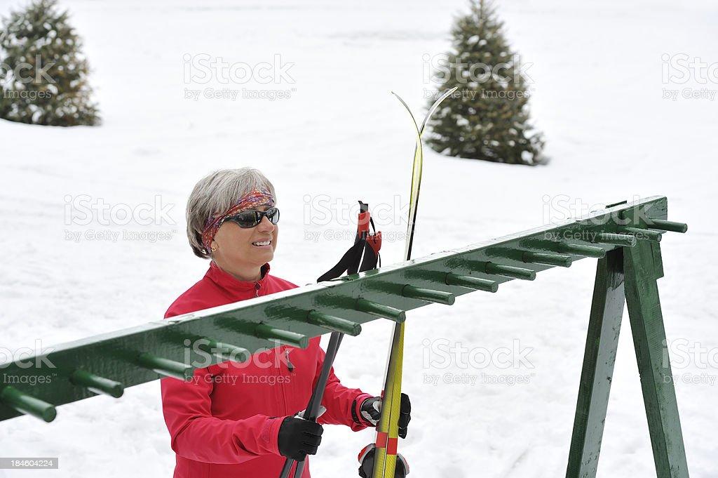 Cross-country skiing, woman stock photo
