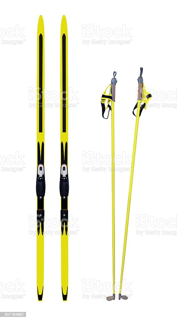 Cross-country skis and poles stock photo