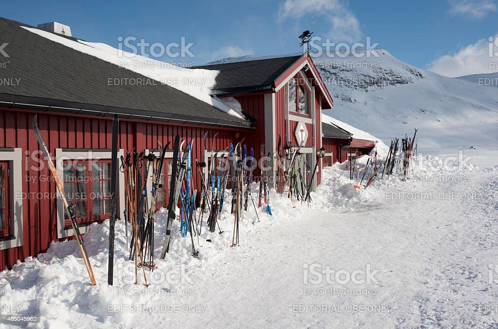 Cross-country skis outside mountain resort in Jotunheimen stock photo