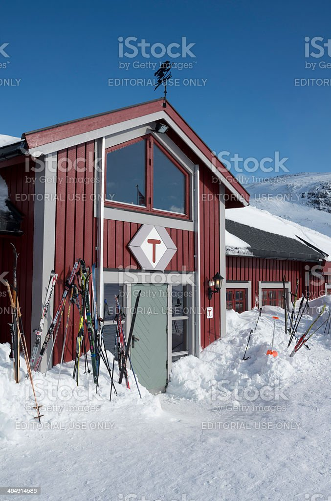 Cross-country skis outside mountain resort royalty-free stock photo