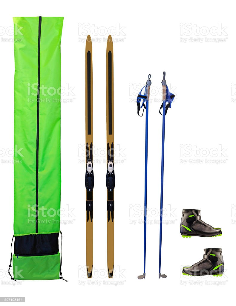 Cross-country skis, poles, boots and case stock photo